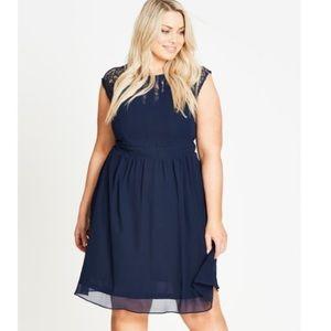 City Chic Dark Romance Navy Fit/Flare Plus Dress